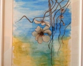 Watercolour painting floral mounted in a White wooden frame with matte