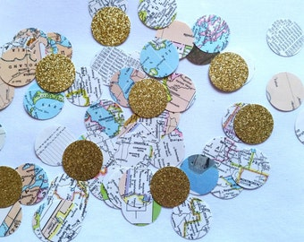 World Atlas Map Circle Confetti• Travel themed party• Bridal shower• Wedding decor• Vintage map confetti•