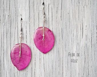 Pink bougainvillea earrings - Drop earrings - Real flower earrings - Pink silver earrings - epoxy resin jewelry