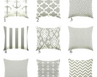 gray pillow - nautical pillow - nursery pillow - pillow cover only - cushion cover -ZIPPER CLOSURE