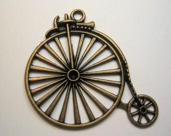 High Wheeler Bike Finding Charm Pendant Bronze / Antiqued Brass Color Quantity 1