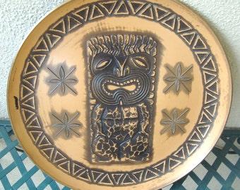 SOLD****ALOHA From HAWAII!  Vintage Hawaiian - Island Tiki Totem - Luau Longe Bar Drink Tray