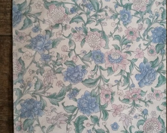 """Vintage Lined Romantic Square Heavyweight  Floral Curtain. 36 x 41"""". Large Floral Window Curtain. Heavy Cotton Curtain panel."""