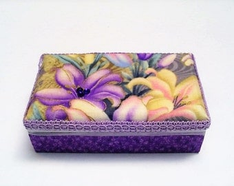 Ring box, lavender floral box, wood jewelry storage, cotton fabric, little girls gift, beaded, bracelets