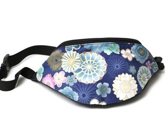 Fanny pack Asian Blue Floral fabric - Cute  - Hip Waist Bag for travel, sport, and hiking with 2-zippered compartments