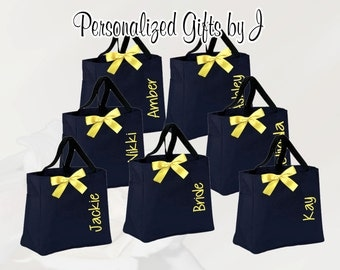 13 Personalized Bridesmaid Gift Tote Bags- Bridesmaid Gift- Personalized Bridemaid Tote - Wedding Party Gift - Yellow Name Tote-