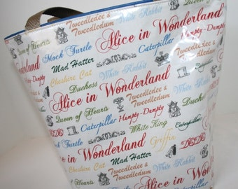 Alice in Wonderland Fabric Reusable Lunch Bag, Lunch Sack, Reusable Bag