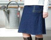 Womens Denim Skirt Dark Indigo Skirt navy Stretch cotton Architect skirt aline pocket skirt blue jean skirt knee length womens clothing