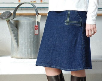 Womens Denim Skirt Dark Indigo Skirt navy Stretch cotton Architect skirt aline pocket skirt blue jean skirt knee length womens clothing