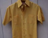 60s Vintage BRENT Button Down Shirt / Short Sleeve Shirt in Mustard Yellow // Men's size Sml - Med