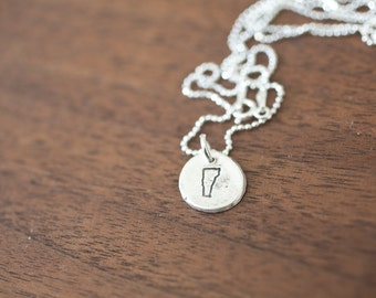 Tiny Vermont Necklace Silver Vermont Necklace State Charm State Necklace VT Small State Charm Vermont Charm Vermont Necklace