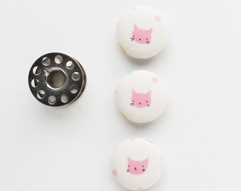 Pink Kitty Fabric Covered Buttons 3/4 Inch