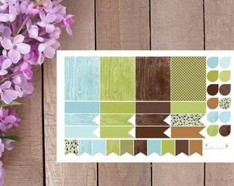 Woodgrain Stickers in Blue, Green, and Brown for your Planner