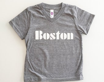 City of Boston Old School Font Kids Tee - heather grey - size 2 / 2T
