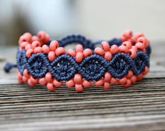 Micro-Macrame Beaded Bracelet - Coral and Blue
