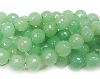 Natural Green Aventurine Faceted Gemstone Beads