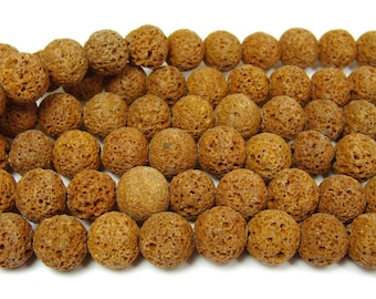 Orange Lava Round Gemstone Beads