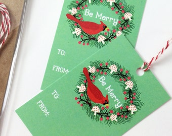 Holiday Gift Tag Set - Cardinal Wreath Christmas Gift Tags - Set of 10 with Baker's Twine - Xmas Gift Tags, Cute Gift Tags, Be Merry, Bird