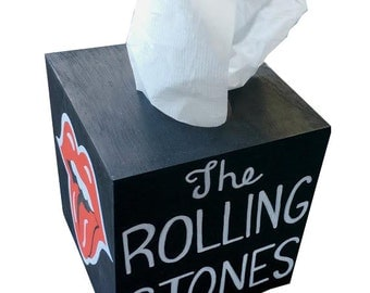 Rolling Stones Hand Painted Tissue Box Matches Toilet Seat in my Shop