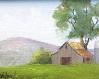Summer Barn and Silo miniature oil framed and by Barbara Haviland Texas Contemporary Artist
