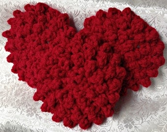 Hand Crochet Red Face Scrubbies - Mini Washcloth - Set of 3