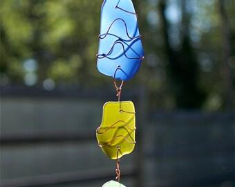 Sun Catcher Sea Glass Copper Suncatcher beach glass stained glass