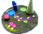 Play mat wool play scape gnomes Waldorf inspired play set ready to ship
