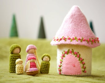 Doll house with family felted wool house wood peg dolls light pink ready to ship