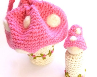 SALE Toadstool pouch with peg doll gnome ready to ship