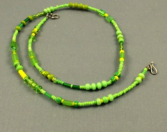 Minimal necklace, colorful seed bead necklace , simplicity necklace lime green and yellow