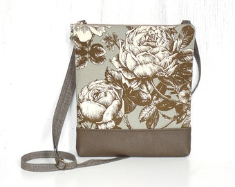 Zipper Crossbody Bag, Cross Body Purse, Small Sling Purse -  Heirloom Floral in Aqua Gray, Cream and Sepia