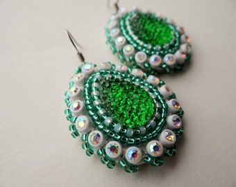 Green Drop Beaded Earrings
