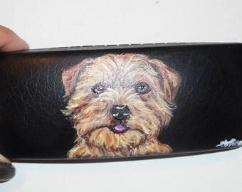 Norfolk Terrier Dog Hand Painted Eyeglass Case Vegan Sunglass Case