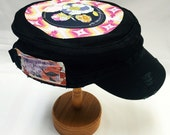 Women's Military Cap in Black -  Floral on Navy with Yellow & Pink Dream Catcher Backdrop - Cadet Hat