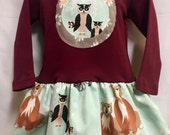 Girls Long Sleeve Maroon Dress with Woodland Animals Appliqué by Magical Scraps