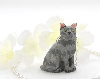Grey Cat Pendant Kitty Necklace Ash - Cat Necklace - Grey Tabby -  Kitty Cat - Cat Jewelry