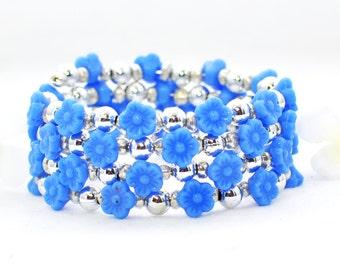 Blue Flower Bracelet Memory Wire Wraparound Cuff Baby Blues  - Flower Bracelet - Flower Jewelry