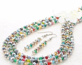 Multicolor Necklace Set Sparkly Rainbow - Multicolor Jewelry - Rainbow Necklace Set - Layering Necklace - Gift for Wife