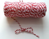 Red & White 12 Ply Bakers Twine - 10 Yards for packaging, artwork, collage, assemblage Valentines Day Decor