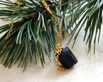 Lump of Coal Necklace - Black Tourmaline Necklace - Also with silver accents - FREE GIFT WRAP