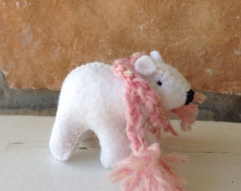 White bear cub SINGLE with pink scarf