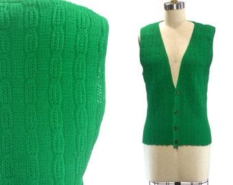 Green Vintage Sweater Vest Sensations by Sparkle Mills Size Medium