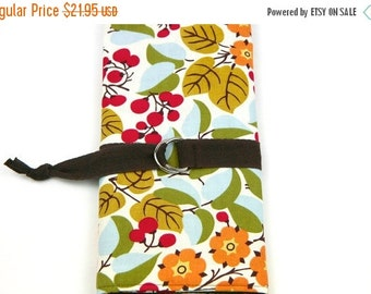 Sale 25% OFF SHORT Knitting Needle Case - Holly - 24 brown pockets for circular, double pointed, interchangeable or travel