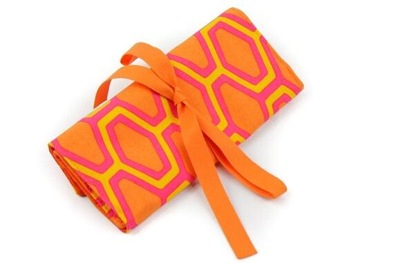 Crochet Hook Case  - Orange Crush - 26 orange pockets