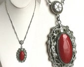 Vintage Silver and Red Necklace - Ornate Oval Art Deco Floral Setting with Softly Faceted Red Coral Stone Pendant - Dainty Silver Chain 20s