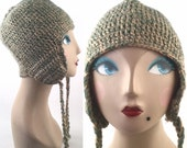 Vintage Knit Hat in Celadon Green and Cream Beige Yarn - Ear Flaps and Long Braided Ties - Trapper or Aviator Hat - Handmade Vintage Winter
