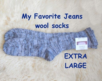 My Favorite Jeans socks --- wool socks ---  EXTRA LARGE