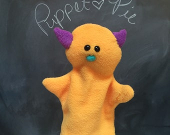 Monster Glove Puppet, Toddler Toy, Therapy Puppet, Imaginative Play, Vegan Toy, Educational Toy, yellow Puppet, Machine Washable