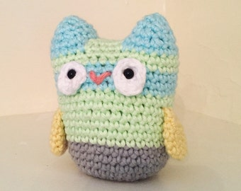 Crochet cotton owl small plush toy