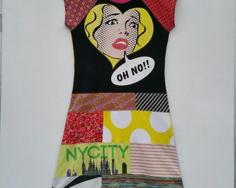 Size 14 (60 inch height) upcycled girls dress with print oh no!